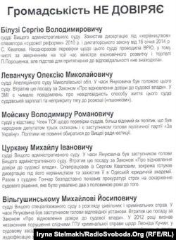 Листівка Реанімаційного пакету реформ зі списком суддів, яким не довіряє громадськість, Київ, 25 вересня 2014 року