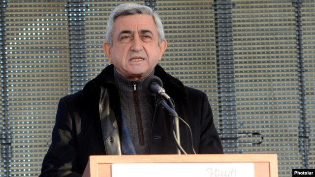 Armenia - President Serzh Sarkisian addresses a campaign rally in Gegharkunik province, 13Feb2013.