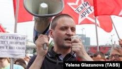 Сергій Удальцов на мітингу проти пенсійної реформи, Москва, Росія, 28 липня 2018 року