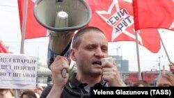 Сергей Удальцов на акции протеста против повышения пенсионного возраста
