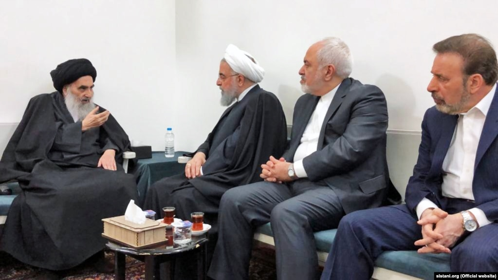 Iraqi influential cleric Grand Ayatollah Ali Sistani meeting with Iran's President Hassan Rohani and his foreign minister Mohammad Javad Zarif on March 13, 2019.