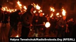 Факельна хода на честь Степана Бандери, Львів, 1 січня 2014 року