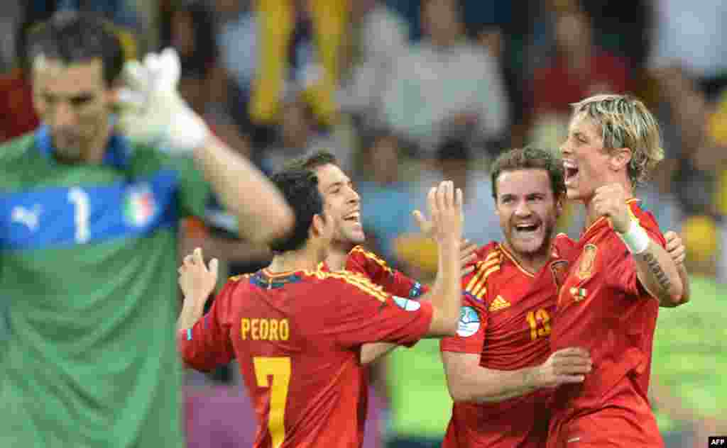 Spanish forward Fernando Torres (right) celebrates the win with his teammates.