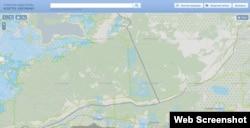 Административная граница между Крымом и Севастополем в районе Байдарского заказника согласно публичной кадастровой карте Украины