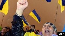 Сторонник интеграции Украины в ЕС на Майдане незалежности в Киеве - 22 ноября этого года