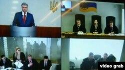 Свідчення Петра Порошенка через відеозв'язок з судом.