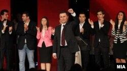 Премиерот Никола Груевски зборува на Конвенцијата на УМС на ВМРО-ДПМНЕ во Скопје.