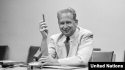 UN Secretary-General Dag Hammarskjold (seen in New York) died in a plane crash during a peace mission to the Congo in 1961.