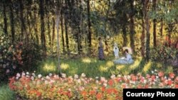 Claude Monet, «Siamja mastaka ŭ sadzie» (1875).