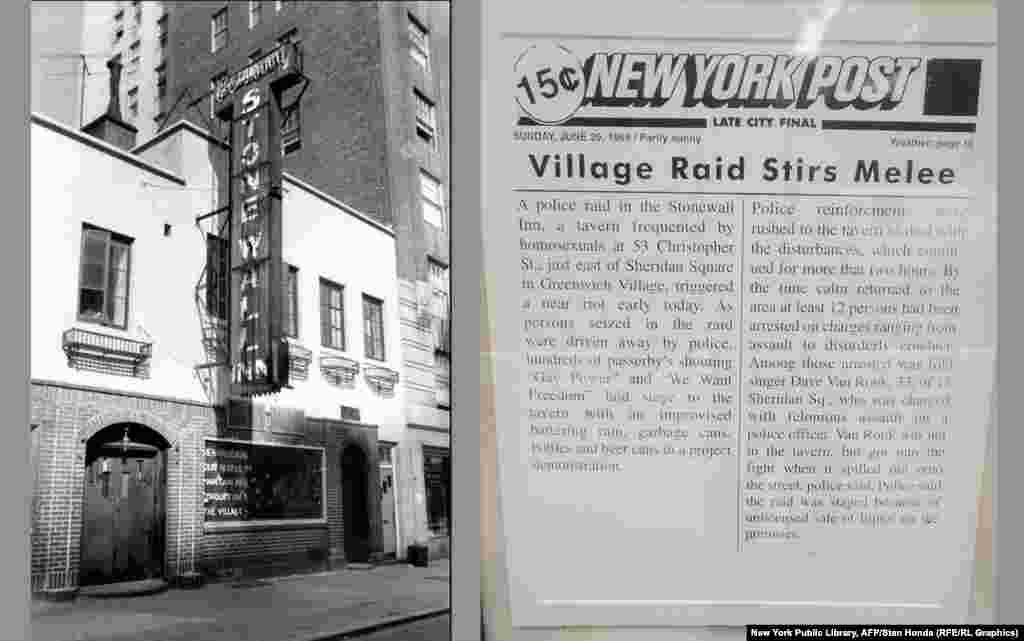 New York City's Stonewall Inn and a reproduction of the June 29, 1969, edition of the New York Post that reported about the police raid that led to the Stonewall riots. The series of spontaneous demonstrations by members of the gay and lesbian community against a police raid on the Stonewall Inn is widely considered the start of the LGBT-rights movement in the United States.