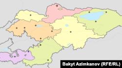 Кыргызстандагы аба майдандардын картасы.