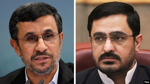 Tehran's former chief prosecutor, Said Mortazavi (right), seems to be in trouble because of his close association with Iranian President Mahmud Ahmadinejad (left).