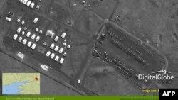 Фотографія, що демонструє розташування російських підрозділів поблизу міста Новочеркаськ, за 50 кілометрів від кордону з Україною, AFP PHOTO / HO / Digital Globe