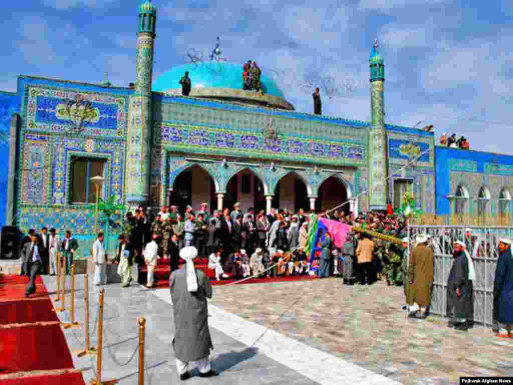 Afghans believe that Mazar-e Sharif is where Ali, son-in-law of Muhammad and the fourth caliph, is buried - Noruz08 Afghanistan - The view of Mazare Sharif on Nowruz Day. People usualy make pilgrimage to Mazare Sharif to celebrate New day in the town's shrine. PAJHWOK/Agustinus Wibowo Noruz08