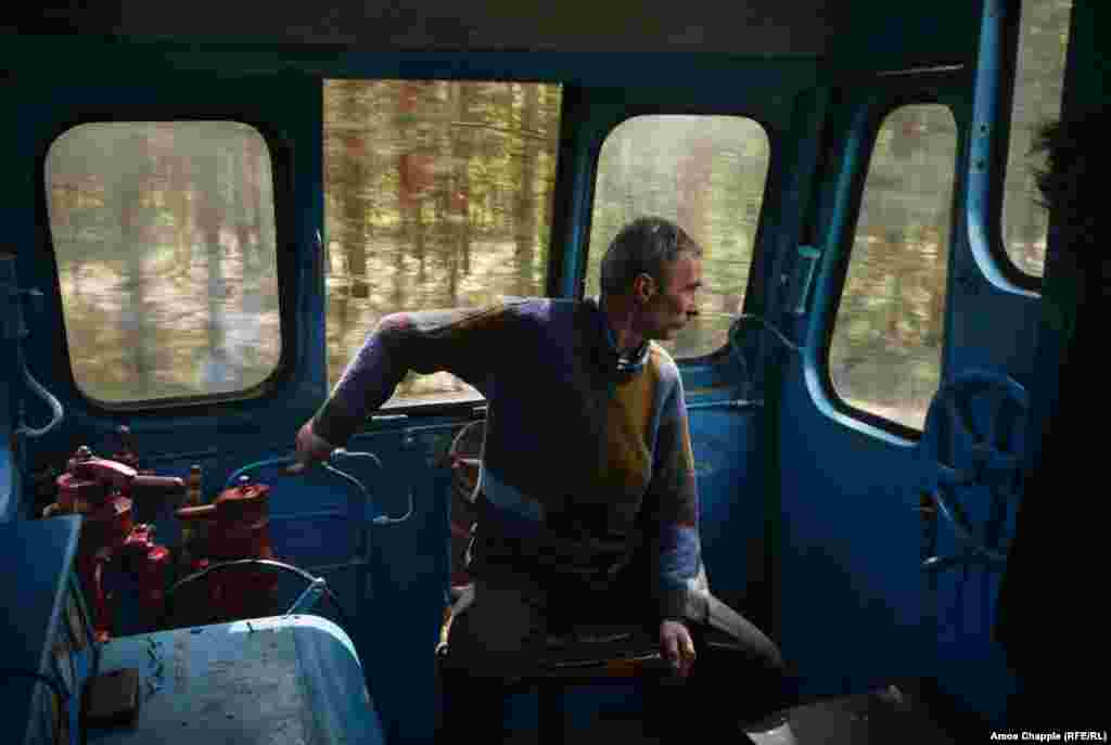 Mykola Havrylevych is one of four train operators who drive the famous route. Depending on how much plywood there is to transport, the drivers might make the run to Klevan several times a day, or not at all.