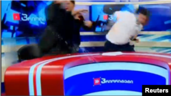 Georgia. Tbilisi. Politicians fight on live TV in Georgia