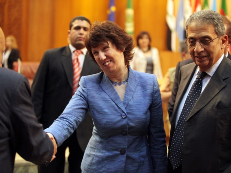 EU foreign policy chief Catherine Ashton, alongside Arab League Secretary-General Amr Musa in Cairo, insists the EEAS will boost the bloc's foreign policy clout.