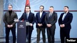 Genat Cakaj, vršilac dužnosti ministra inostranih poslova Albanije (za govornicom), sa predstavnicima albanskih partija sa juga Srbije u Tirani, 16. januara 2020.