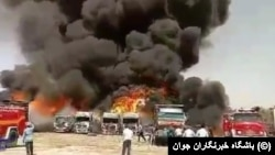 Truck parking in Dolat Abad, Kermanshah on Fire. July 28,2020