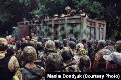 Бійці батальйону спеціального призначення НГУ «Донбас» перед першим штурмом міста Іловайськ
