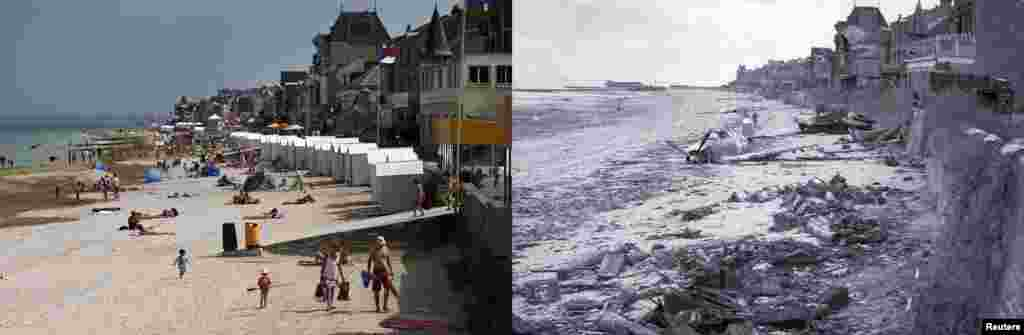 On the right, a downed plane on Juno Beach in Saint-Aubin-sur-Mer, and on the left, the same beach as it appears today.