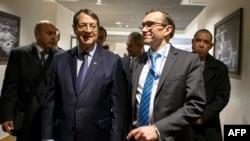 Predsjednik Kipra Nikos Anastasijadis (lijevo) i izaslanik UN-a Espen Bart Eide (desno), Ženeva