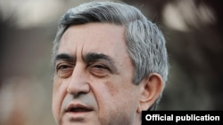 Armenia -- President Serzh Sarkisian speaks to journalists in Tsaghkadzor, 12Mar2011.