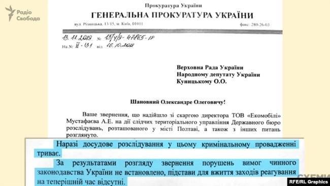 за чотири тижні листом за підписом генпрокурора Рябошапки депутата Куницького поінформували, що його «звернення розглянуто