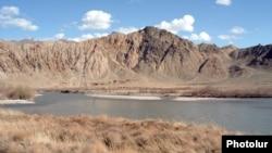 Armenia/Iran - The Arax river serving as Armenia's border with Iran.