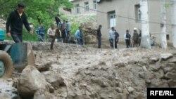 Flood damage in Khorugh, Tajikistan