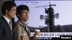 Seul televiziyası Şimali Koreyanın fəzaya raket göndərməsi barədə xəbər verir, 13 Aprel 2012