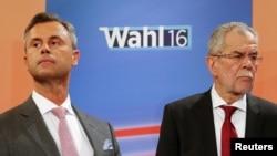 Норберт Хофер (слева) из Партии свободы и Александр Ван-дер-Беллен из Партии зеленых во время теледебатов в Вене. 24 апреля 2016 года.