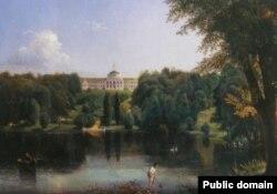 Палац у Качанівці на картині 19-го століття художника Василя Штейнберга