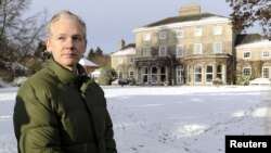 WikiLeaks founder Julian Assange speaks to the media outside Ellingham Hall, the home of his friend, journalist Vaughan Smith, in Norfolk.