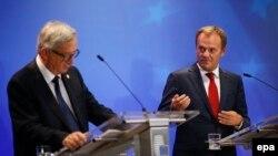 Եվրոպական հանձնաժողովի նախագահ Ժան Կլոդ Յունկերն ու Եվրամիության խորհրդի նախագահ Դոնալդ Տուսկ Բրյուսելում, արխիվ
