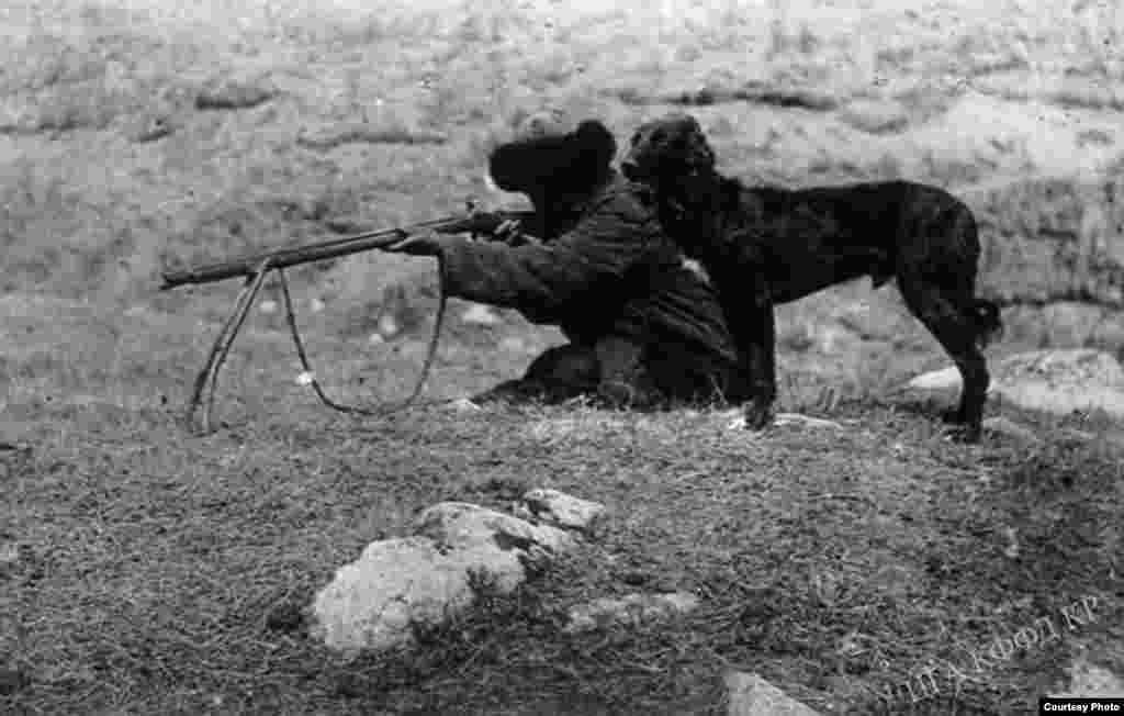Тайган ээрчиткен кыргыз мергенчи.