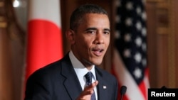 President Barack Obama at a press conference before leaving Japan on April 24