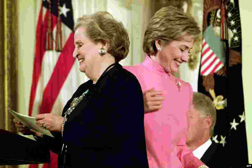 Hillary Clinton was the third woman to be the U.S. secretary of state after Madeleine Albright (left), pictured here in the White House in November 2000, blazed the trail under President Bill Clinton from 1996 to 2000.