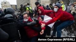 На акции в поддержку Алексея Навального. Москва, 23 января 2021 года