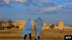 Two burqa-clad Afghan women walk on the outskirts of Herat.
