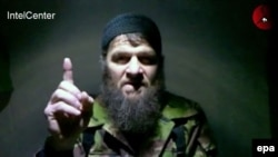 Chechen rebel leader Doku Umarov during a video statement in which he claims responsibility for the suicide bombings in the Moscow subway in March 2010.