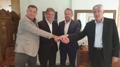Milorad Dodik, Lars G. Wigemark, Bakir Izetbegović i Dragan Čović