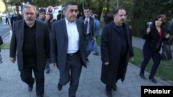 Armenia - Aghvan Vartanian (R) and other leaders of the Armenian Revolutionary Federation lead a demonstration in Yerevan, 29Oct2013.