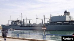 One of the Iranian naval ships in the Suez Canal near Ismailia
