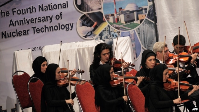 Members of the Iranian National Orchestra perform in Tehran in a 2010 ceremony marking National Nuclear Day.