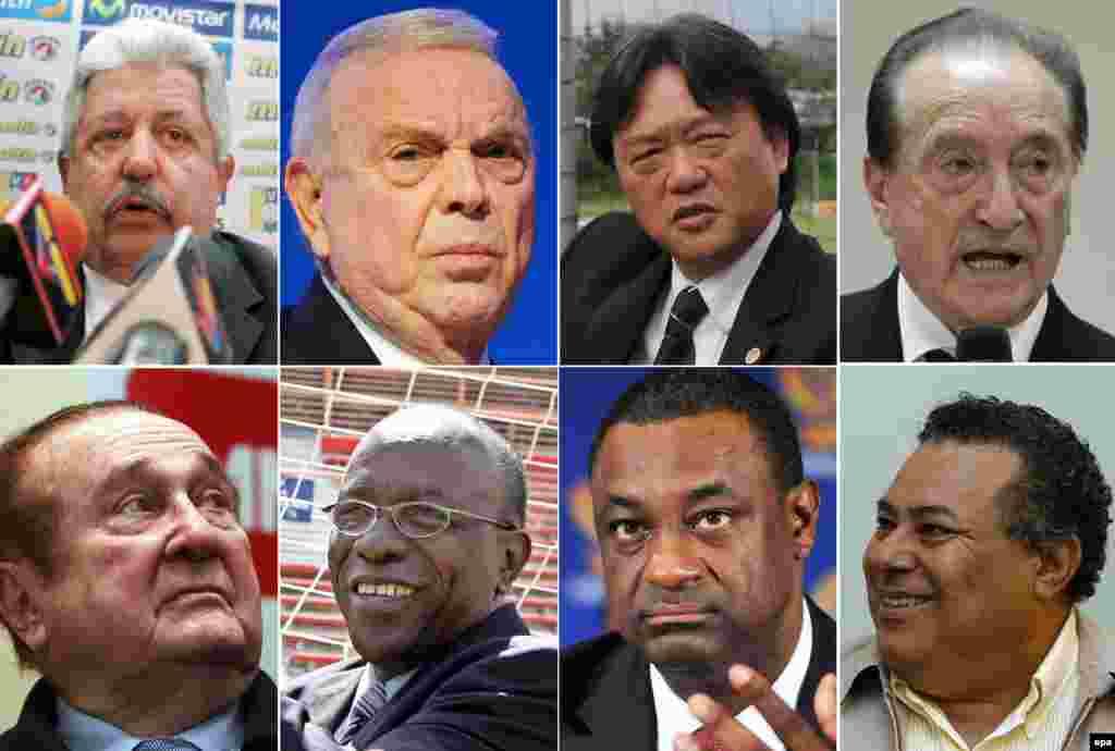 Айып тағылған ФИФА қызметкерлерінің фотографиялары.