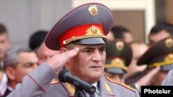 Armenia -- National police chief Hayk Harutiunian at an official ceremony in Yerevan, April 16, 2003.