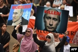 Акция протеста против действий Путина в Сирии. Австралия, Сидней, 11 октября 2015 года