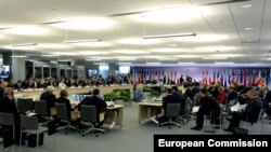 Latvia -- A general view of the Eastern Partnership Summit session in Riga, May 22, 2015