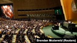 دونالد ترمپ رئیس جمهوری ایالات متحدۀ امریکا حین سخنرانی در مجمع عمومی سازمان ملل متحد. September 24, 2019